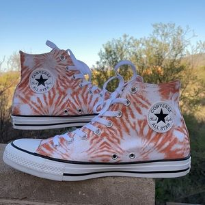 New Orange Sunburst Tie Dye Converse Hi Tops Sz 9